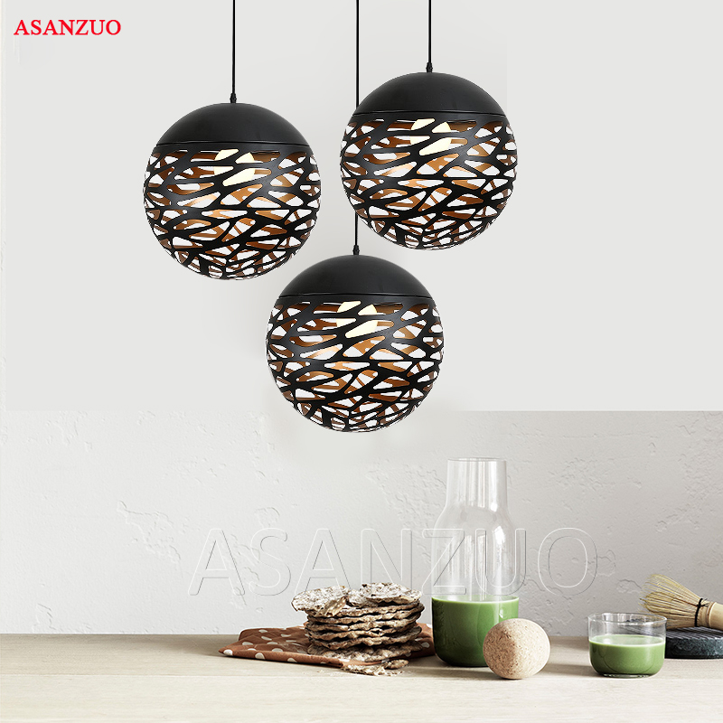 Vintage Pendant Lights Hollow Black Iron Pendant Lamp Kitchen Fixtures Dining Room Table Hang lamp avize luminaria Home Lighting цена