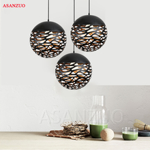 Vintage Pendant Lights Hollow Black Iron Pendant Lamp Kitche