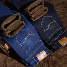 купить 2019 New Fashion Winter Men's Jeans Slim Fit Velvet Warm Jeans Men Classical Thick Pants Simple Fleece Plush Jeans Homme!005 по цене 2603.95 рублей