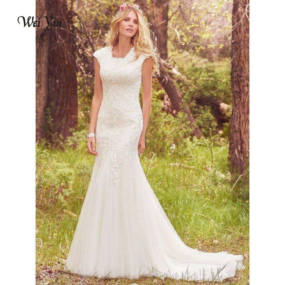 Weiyin Elegant Conservative Beautiful Lace Mermaid Wedding Dress