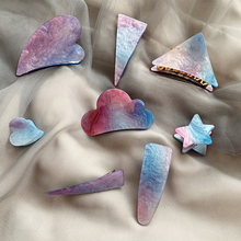 Dream Starry Sky Fastens~Pink Blue Gradient Side Clip Geometry Hairpin Woman Sweet And Temperament Claws Hair Accessories