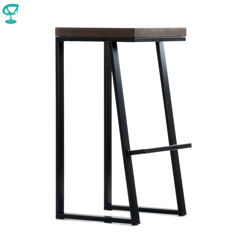 N308BlBrWood Barneo N-308 High Black Metal Brown Wood Seat Interior Stool Bar Chair Kitchen Furniture Free Shipping In Russia