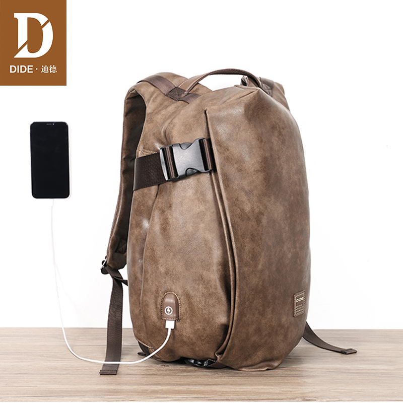 Dide Male Backpack External Usb Charge Waterproof Laptop Backpack Pu Leather Travel Casual School Bag For Teenagers Men