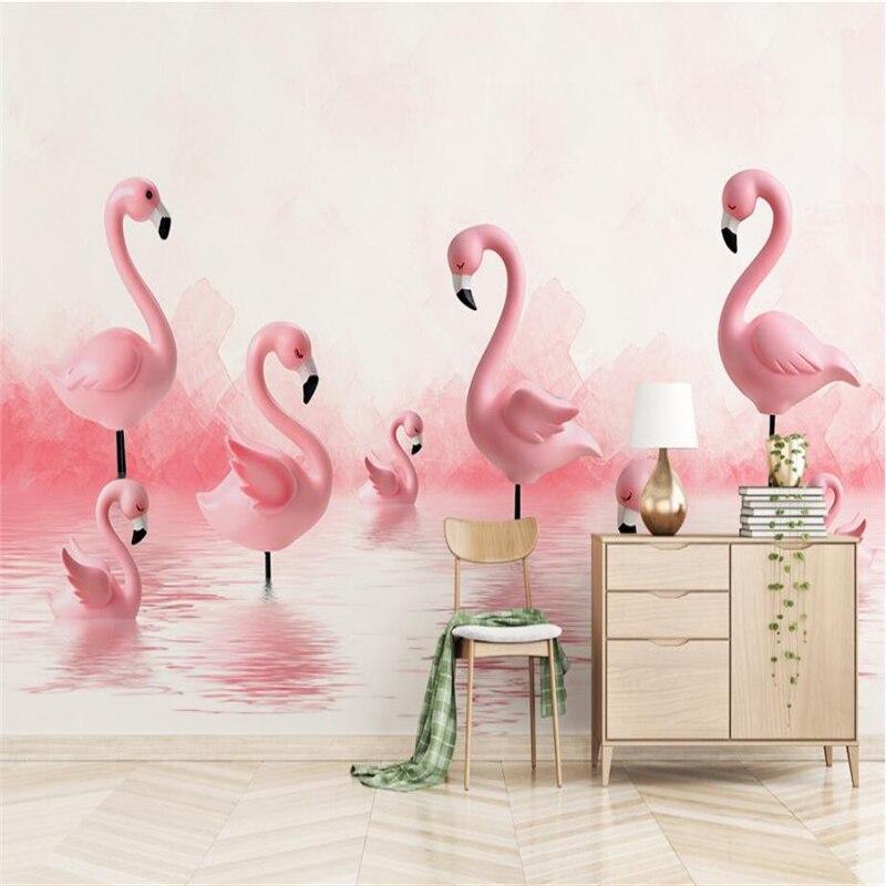 Nordic Ins Pnk Flamingo Wall Murals Custom Photo Wallpapers for Walls 3D Murals Living Room Background Wall Papers  Home Decor пляж на самуи
