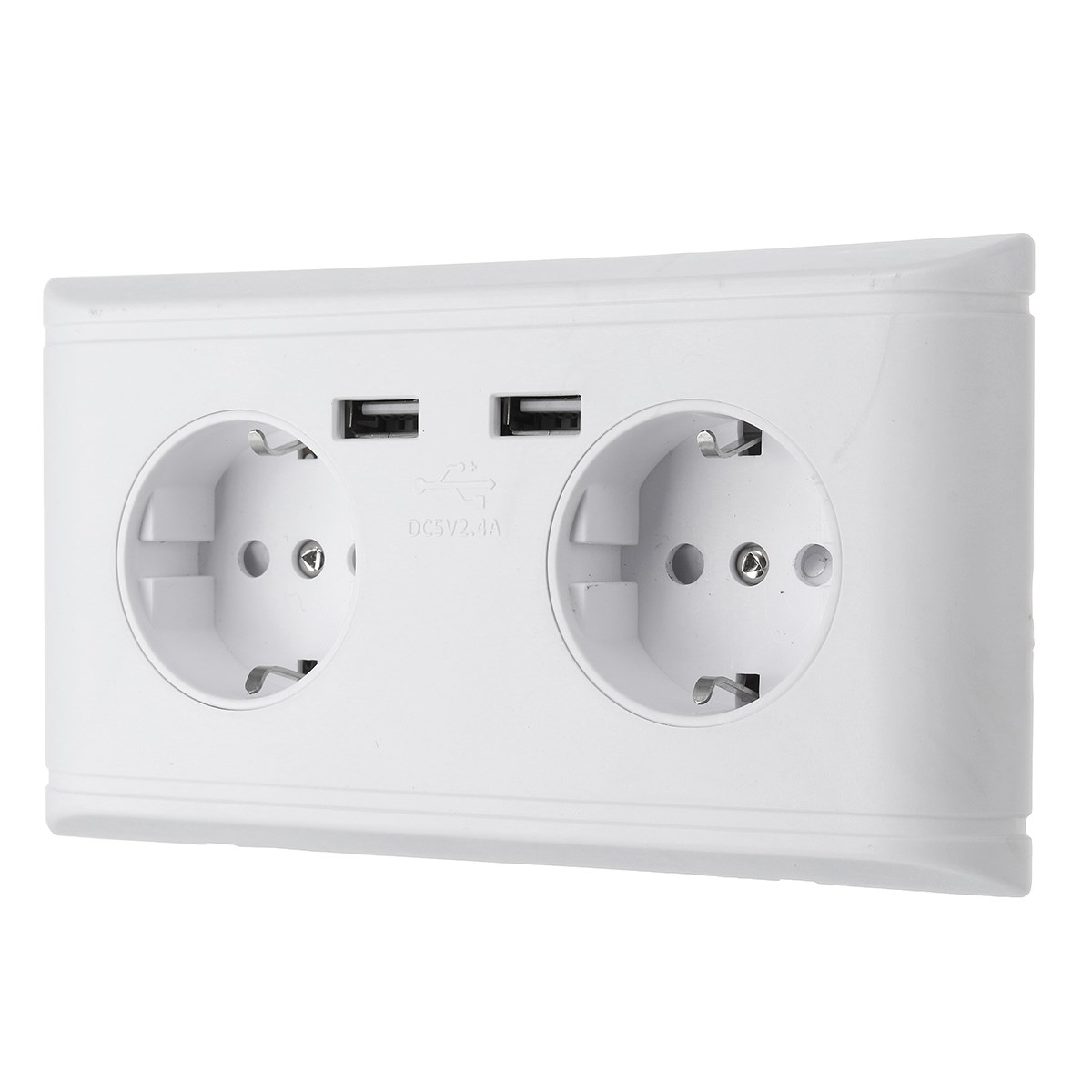 NEW Safurance 2.4A Dual USB Port Wall 2 Socket Charger AC Power Receptacle Outlet Plate Panel For Home Automation цена 2016