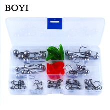 BOYI 45pcs/Set High Quality Lead Jig Head FishHooks 1g/2g/3.5g/5g/7g/10g/14g Lead Jig Fishing Hooks Set For Soft Lure