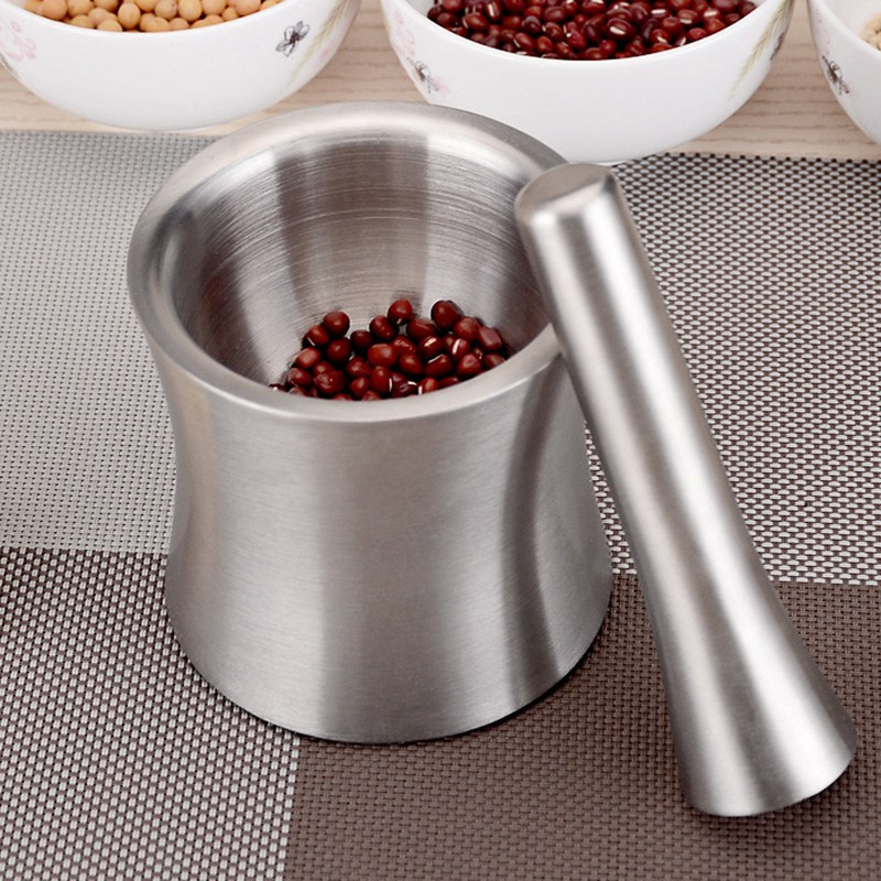 Stainless Steel Mortar and Pestle Garlic Pounder Pestle Mortar Leak Proof Cover Mortar Grinder Pot Food Mills Grinding Container