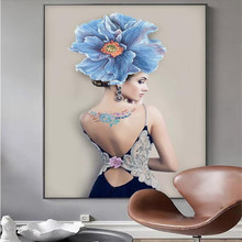 Nordic minimalist modern illustration hand-painted beauty flower frameless painting decorative manufacturer wholesale w