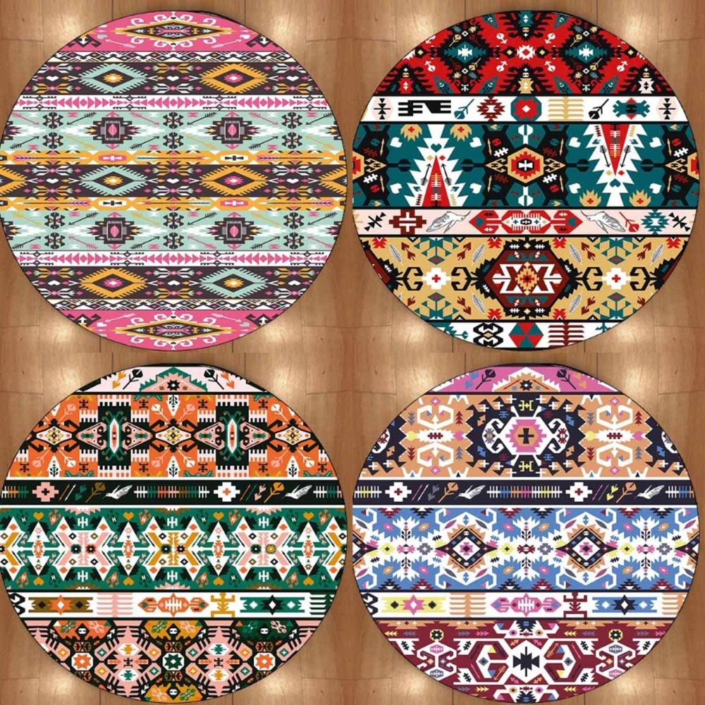 Else Aztec Boho Colored Geometric 3d Print Non Slip Microfiber Round Carpets Area Rugs For Living Rooms Kitchen Bedroom Bathroom