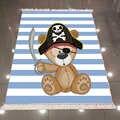 Autre bleu rayures marin Pirate ours en peluche 3d microfibre anti-dérapant dos lavable décoratif Kilim enfants chambre tapis tapis