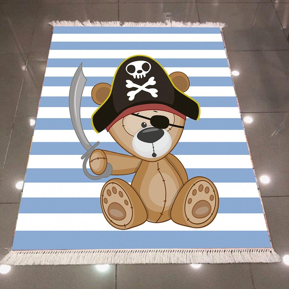 Else Blue Stripes Sailor Pirate Teddy Bear 3d Microfiber Anti Slip Back Washable Decorative Kilim Kids Room Area Rug Carpet