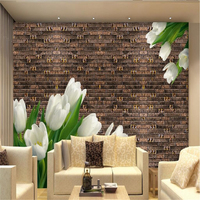 カスタム壁画ヨーロッパ3dレトロレンガパターン壁紙壁用3dアートタイルユリの花の壁カバーするリビングルームホームインテリア