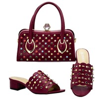 Elegant wine red italian slippers shoes and clutches handle bag set with many colorful stones newest shoes and bag set SB8304 3