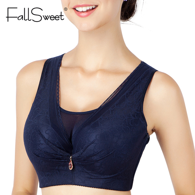 0f45a320d8990 FallSweet Push Up Bras for Women Full Cup Vest Bra Brassiere Plus Size C D  Cup Black