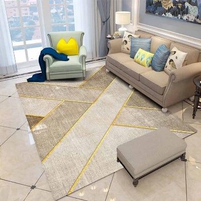 Else Brown Cream Golden Yellow Lines Geometric 3d Print Non Slip Microfiber Living Room Decorative Modern Washable Area Rug Mat