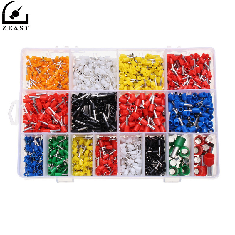ZEAST 2120Pcs/lot Assorted Insulated Electrical Wire Terminal Crimp Connector Spade Kit Pin End Terminal For Cable Connecting 2340pcs lot mixed 15 models dual bootlace ferrule kit electrical crimp crimper cord wire end terminal block