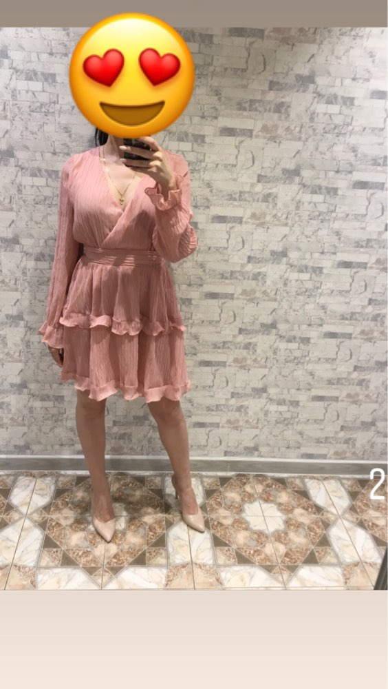 Elegant Pleated Chiffon Women Dress Summer Long Sleeve V Neck Ruffles White Dresses Casual Mini Dress Vestidos photo review