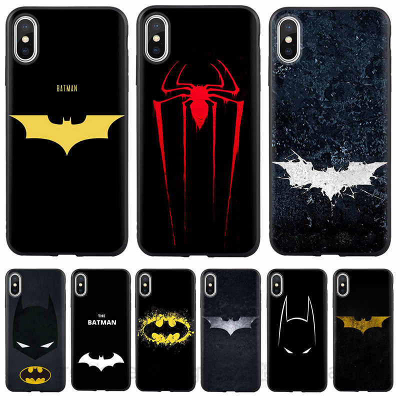 Para iPhone X XR XS MAX funda carcasa Marvel Spiderman Batman fundas de silicona suave para iPhone 8 8 Plus 7 7 Plus 6 S 6 Plus SE 5S