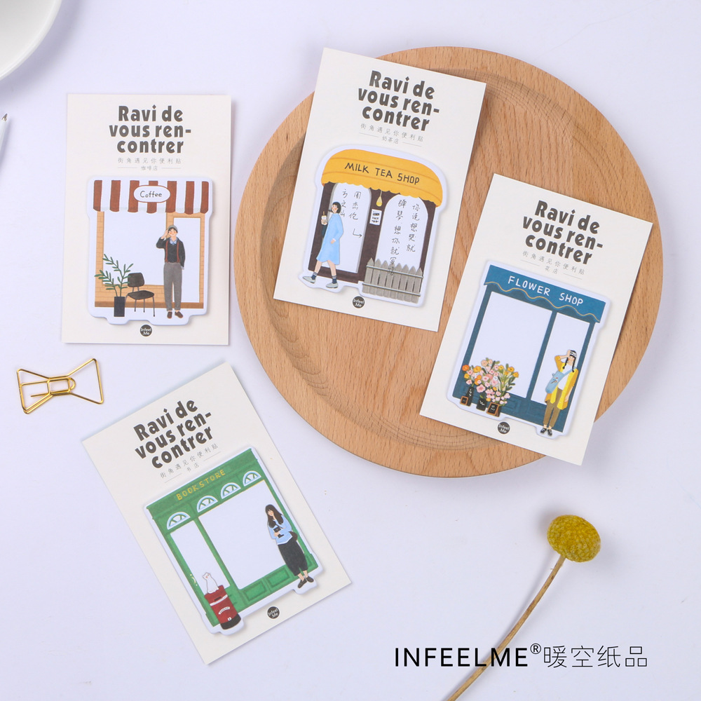 12 sets/1 lot Creative Meet you on the corner Memo Pad Sticky Notes Escolar Papelaria School Supply Bookmark Post it Label