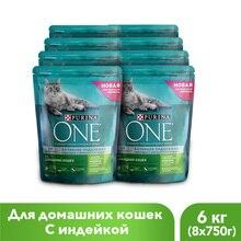Сухой корм Purina ONE для домашних кошек с индейкой и цельными злаками, 6 кг.