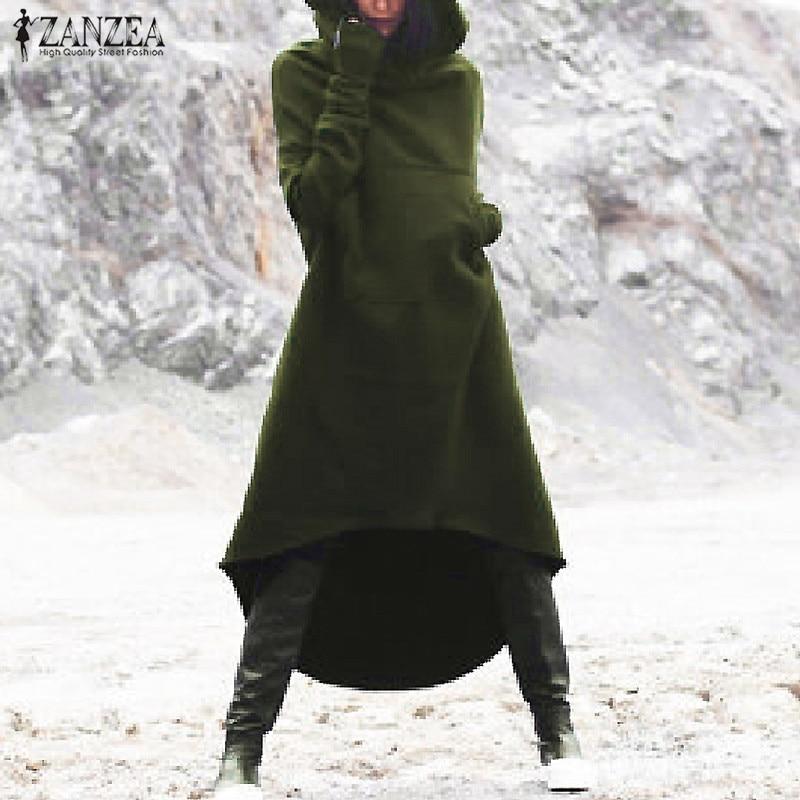 2018 ZANZEA Women Hooded Long Sleeve Fleece Solid Pockets Irregular Hem Long Sweatshirt Dress Hoodies Pullover Vestido Plus Size