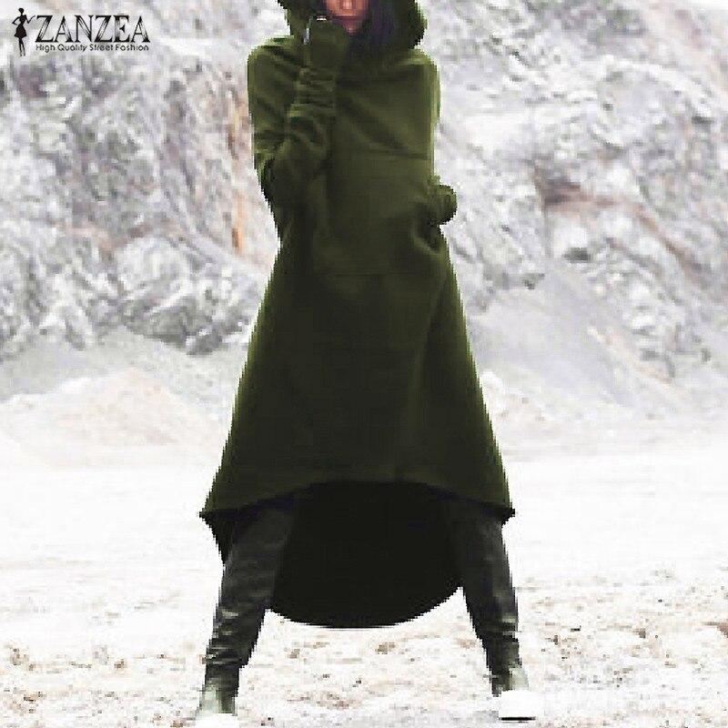 2019 ZANZEA Women Hooded Long Sleeve Fleece Solid Pockets Irregular Hem Long Sweatshirt Dress Hoodies Pullover Vestido Plus Size