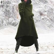 купить 2019 ZANZEA Women Hooded Long Sleeve Fleece Solid Pockets Irregular Hem Long Sweatshirt Dress Hoodies Pullover Vestido Plus Size дешево