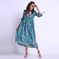 Boho 2017 Fashion Women Ladies Chiffon Long Maxi Dress Long Sleeve Plunge V Neck Loose Casual