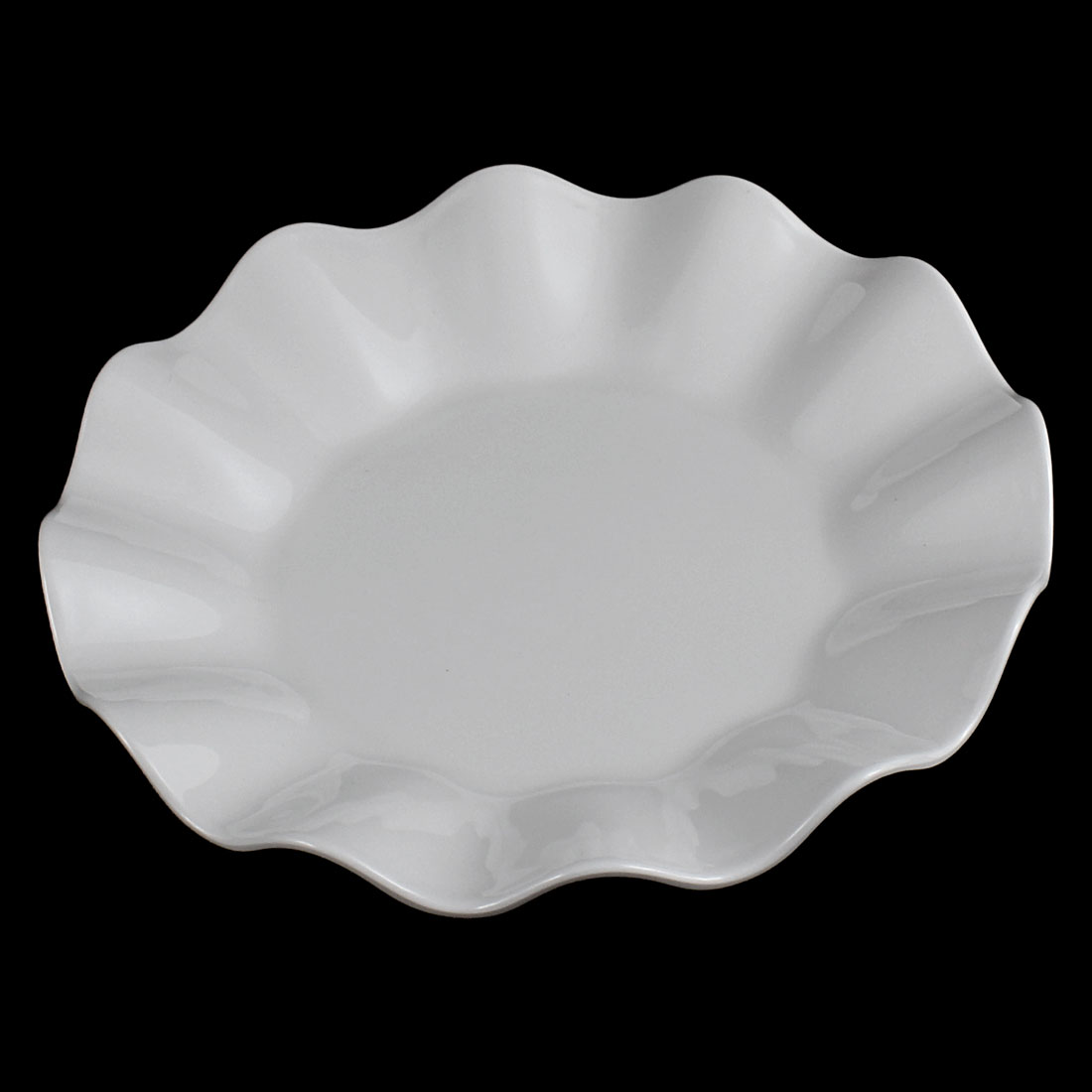 UXCELL Restaurant Wavy Pastry Appetizer Dessert Dish Plate White 16Cm Dia dish-in Dishes