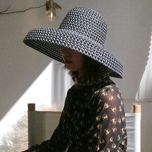 Image 5 - Женская пляжная шляпа с широкими полями, соломенная шляпа с защитой от УФ лучей UPF50, складная летняя шляпа от солнца, Kentucky Derby, дышащая, новинка 2019