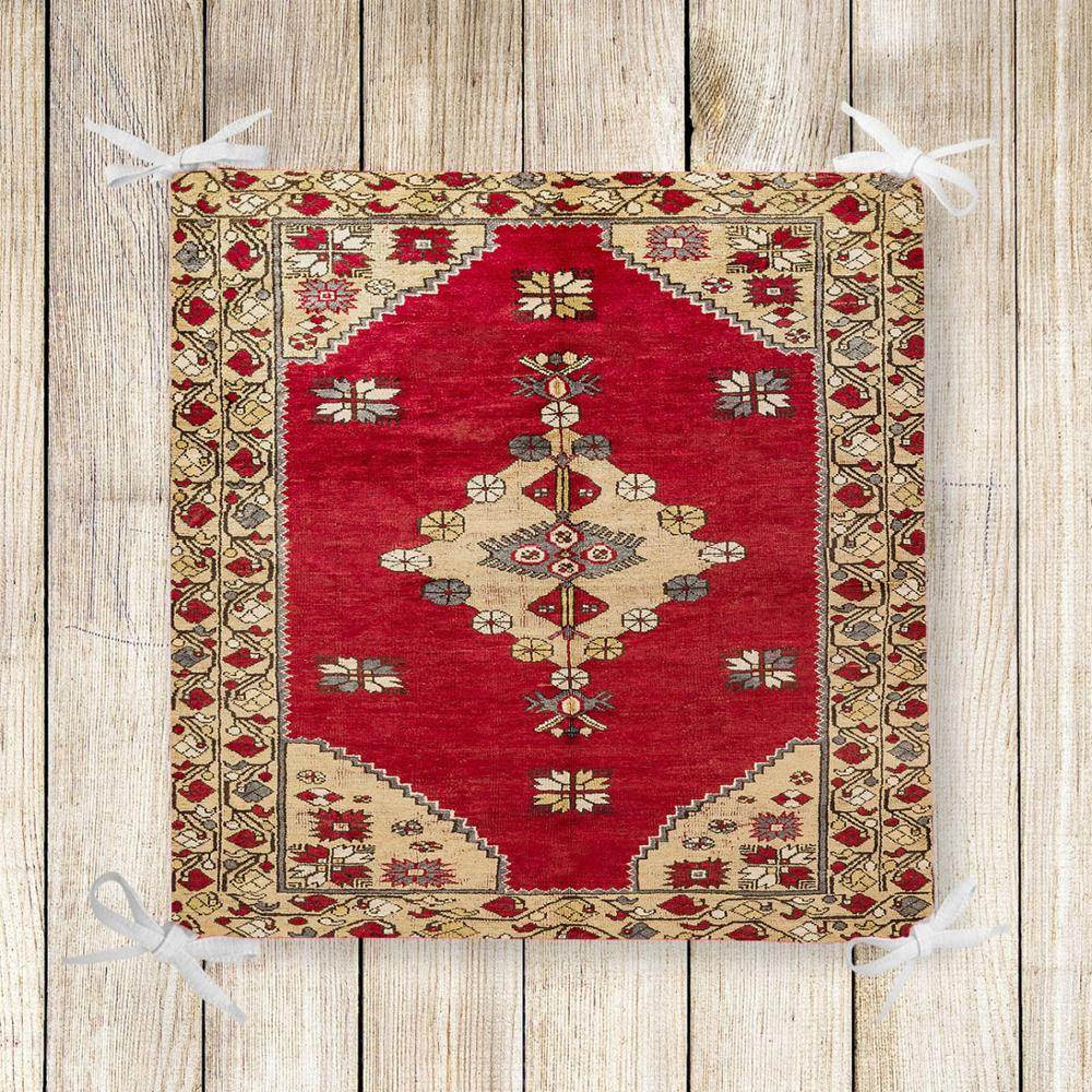Else Red Brown Turkish Ethnic Kilim 3d Print Square Chair Pad Seat Cushion Soft Memory Foam Full Lenght Ties Non Slip Washable