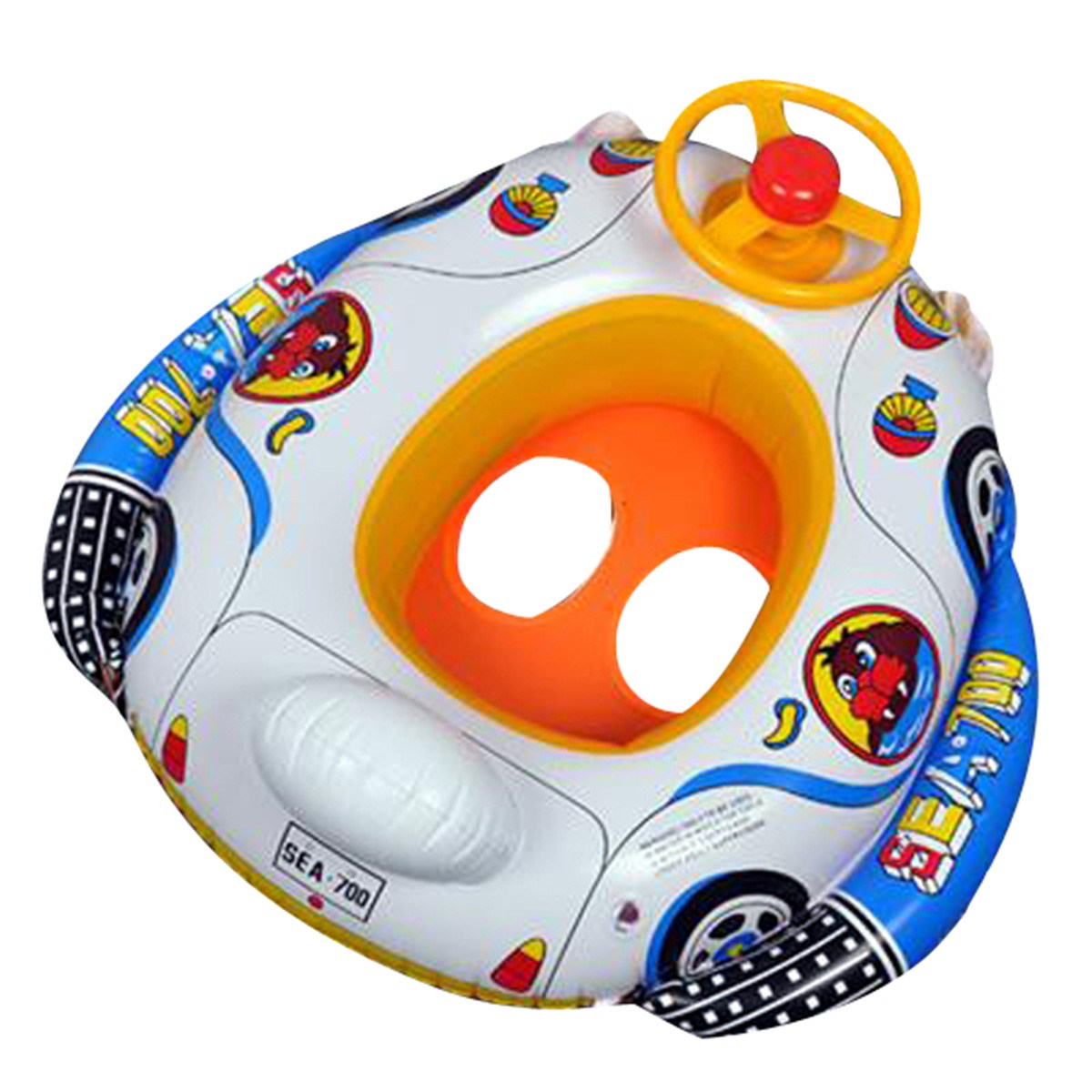 Baby Inflatable Swimming Pool Ring Seat Floating Car Shape Boat Aid Trainer with Wheel Horn