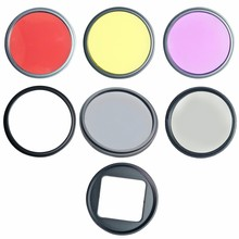 New 52mm Filter Kits Set CPL FLD ND4 UV Filter for Gopro Hero four Three+ CameraYellow Crimson Lens Ring Adapter Clear Clot