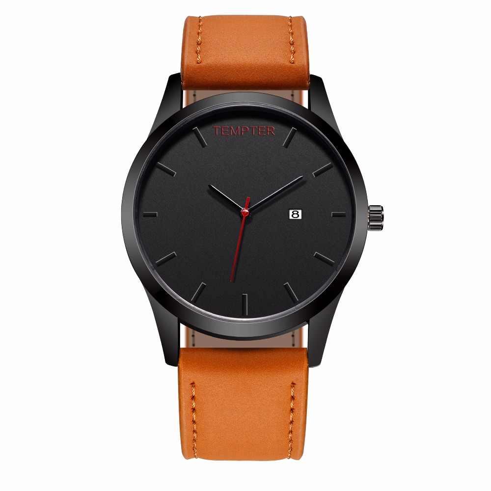 Military Men Watches Brand Luxury Leather Business Quartz-Watch Mens Calendar Wristwatch saat Relogio Masculino Reloj Hombre