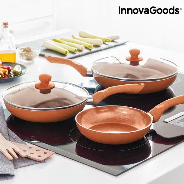 Juego de Sartenes Copper-Effect InnovaGoods (5 Piezas) Compatible con cocinas de gas, electricas, halogenas e induccion