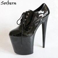 Sorbern 20 см каблуки на шнуровке туфли лодочки Ультра Высокий каблук Обувь Женская Платформа каблуки Дизайнерская обувь Женская Роскошная 2018 к