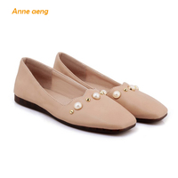 2018 New Spring Women Shoes String Bead Women Flats Supper Soft Casual Style Pearls black Ladies women Shoes Big Size 44 45 46
