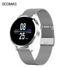 SCOMAS Q9 Smart Watch IP67 Waterproof 1.22Color Screen Heart Rate Blood Pressure Monitor Men Women Smartwatch For Android IOS gagafeel q9 smartwatch waterproof for android ios heart rate monitor blood pressure smart watch with additional strap