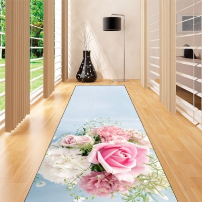 Else Blue Floor Pink Roses Flowers Floral 3d Print Non Slip Microfiber Washable Long Runner Mat Floor Mat Rugs Hallway Carpets