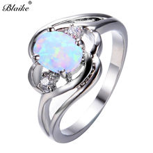 Blaike Mystic Fire White Blue Rainbow Opal Oval Zircon Rings For Women 925  Sterling Silver Filled Birthstone Ring Jewelry Gifts 513a423d957e