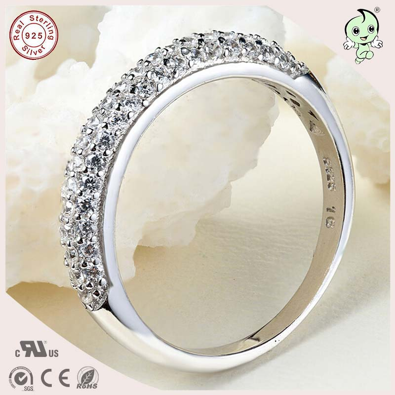 Delicate And Noble CZ Paving S925 Sterling Silver Engagement Ring