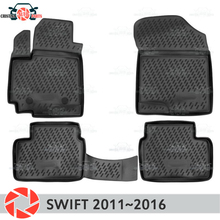 Коврики для Suzuki Swift 2011 ~ 2016 ковры Нескользящие полиуретановые грязи защиты подкладке автомобиля средства укладки волос