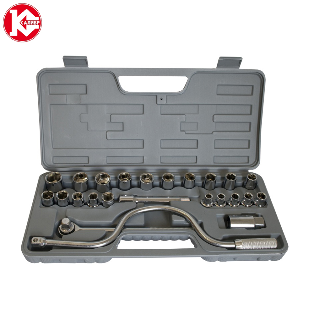Handle ToolSet Kalibr AN-24, 24pc Spanner Socket Set Car Vehicle Motorcycle Repair Ratchet Wrench Set two tone handle eye brush set 3pcs