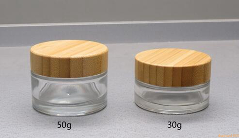 50g Frosted Glass Jar with bamboo lid Empty Cream Jars Cosmetic Packaging Containers Pot With Lid For Hand cream Container#211