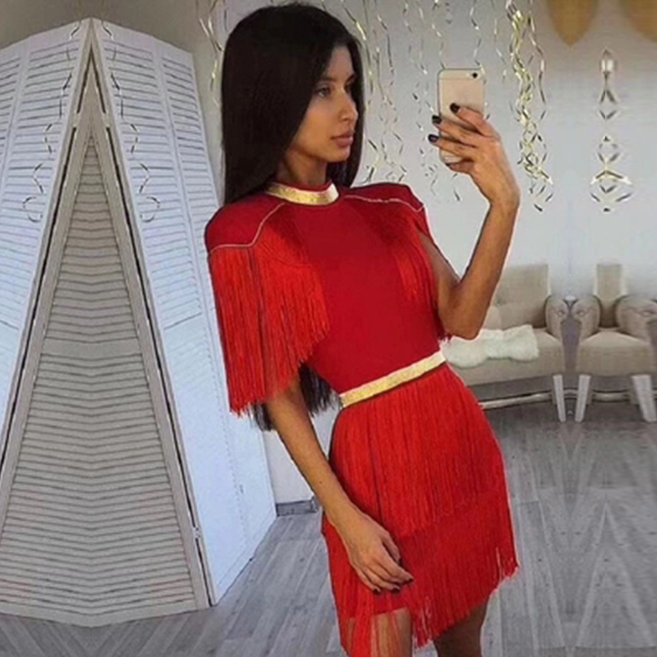 Adyce 2020 New Summer Red Fringe Celebrity Evening Runway Party Dress Women Sexy Tassels Black Short Sleeve Club Dress Vestidos