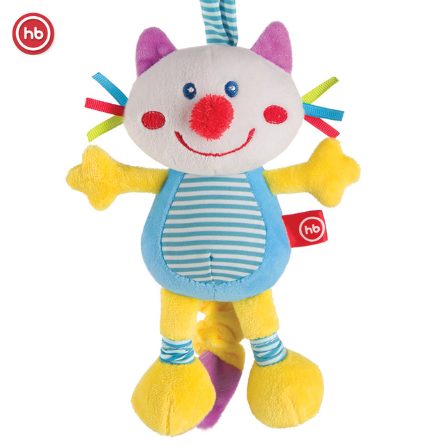 Подвесная игрушка-растяжка с вибрацией Кот Happy Baby FRISKY KITTY