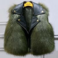 Girls Fur Vest children's fur vests Boys Leather Coat baby clothing Waistcoat Children Winter Jacket Faux Fur Coat WUA881