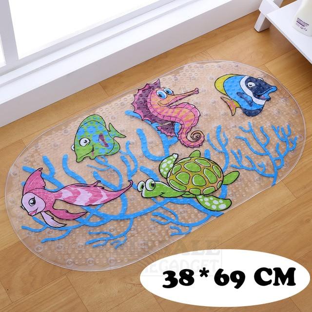 Nuovo 38 cm * 69 cm Simpatico Cartone Animato Anti-Slittamento del PVC Tappetini Da Bagno Con Ventosa Bagno Tappeto Doccia Pad morbido Massaggio Pad Multi-Color