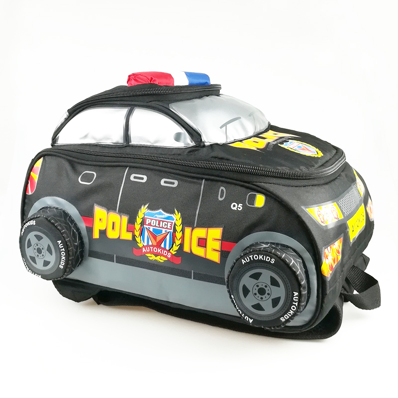 3D Children Cartoon Backpacks Primary School Bags Kids Police man Car Backpacks Boy Black Nylon Student