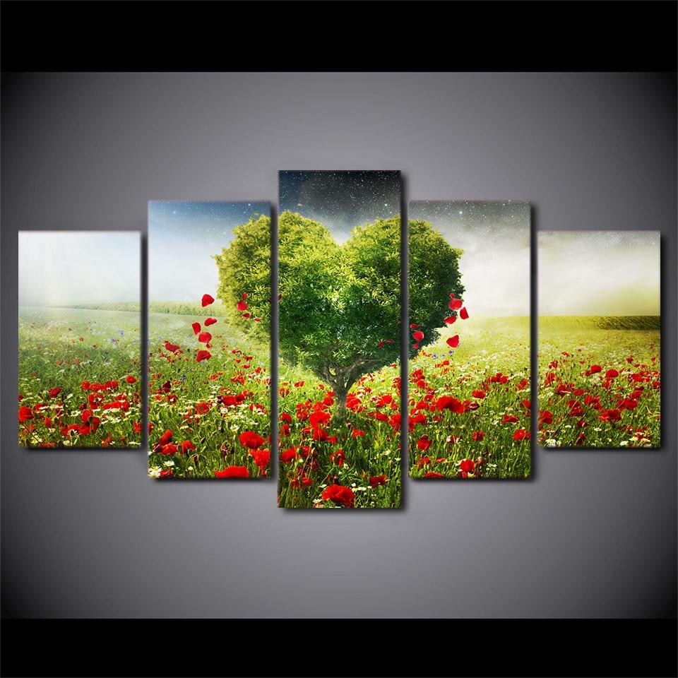 5 Teile/satz Gerahmte HD Gedruckt Blütenblätter Liebe Baum Bild ...